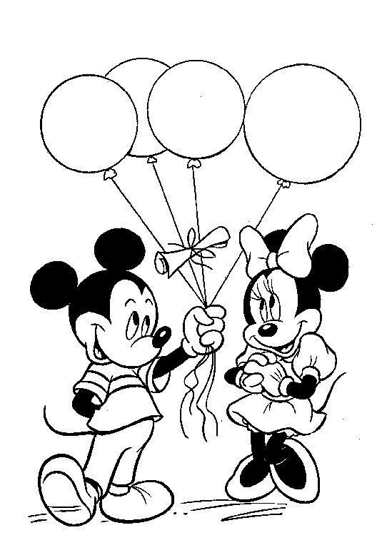 Desenho De Mickey Presenteando Minnie Com Baloes Para Colorir