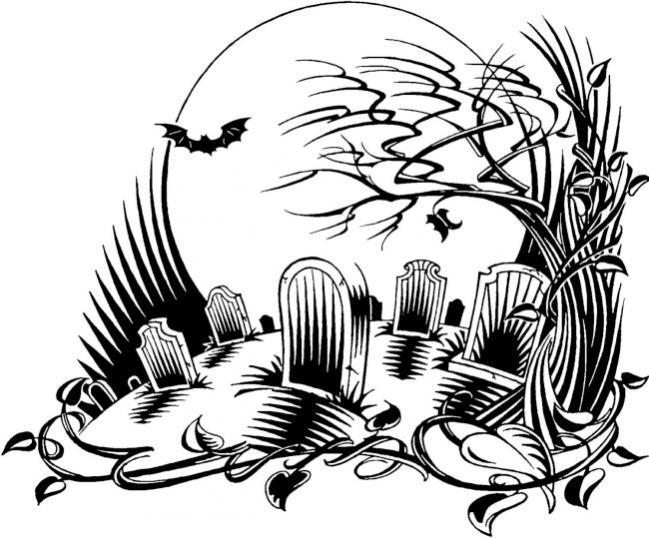 desenho de cemitério do terror para colorir tudodesenhos