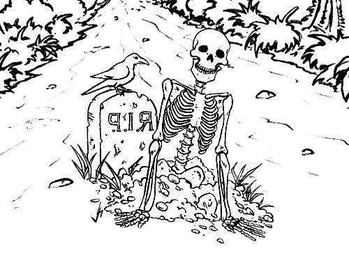 desenho de esqueleto no cemitério para colorir tudodesenhos