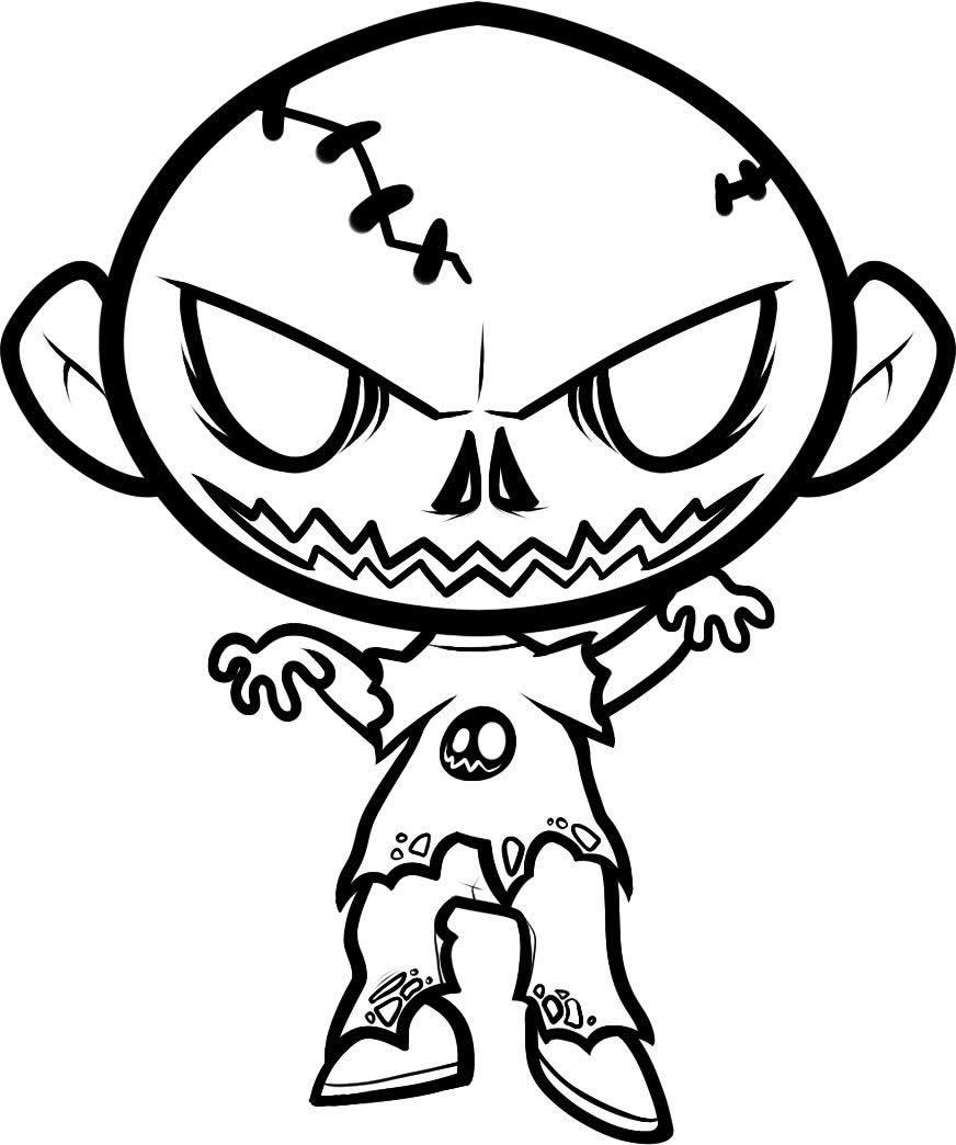 Desenho De Zumbi Do Terror Para Colorir Tudodesenhos