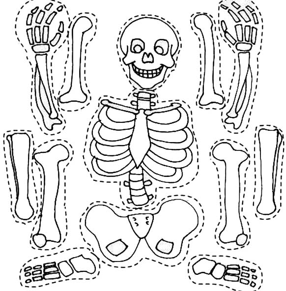 skeleton template to cut out - desenho de esqueleto para recortar e montar para colorir