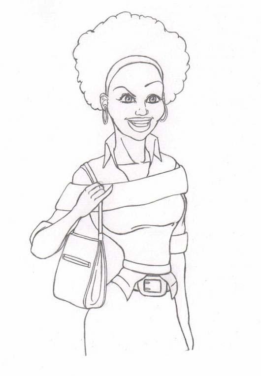 desenho de mulher negra para colorir tudodesenhos