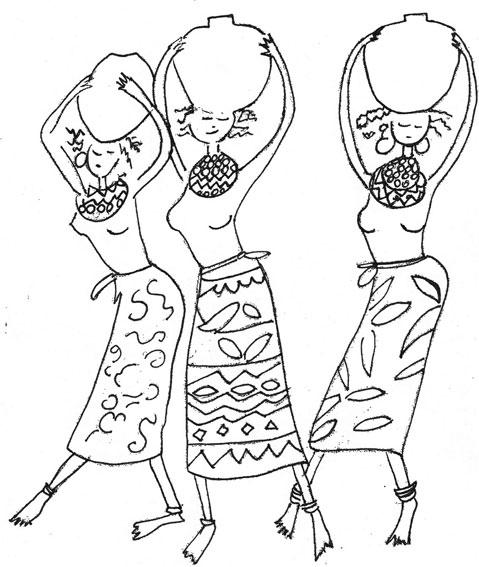 Desenho De Mulheres Africanas Etnicas Para Colorir Tudodesenhos