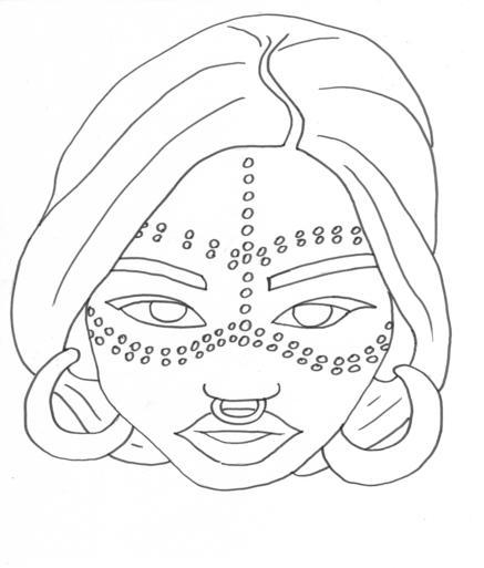 Desenho De Rosto De Mulher Africana Pintada Para Colorir