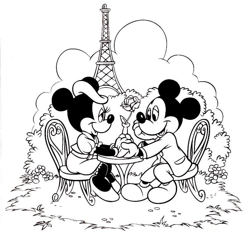 Desenho De Minnie E Mickey Em Paris Para Colorir