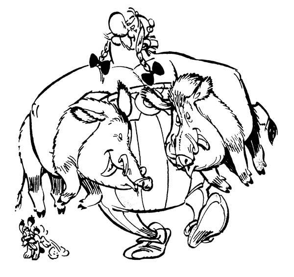 Desenho de Obelix segurando javalis para colorir ...