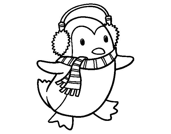 Desenho De Pinguim Com Fone De Ouvido Para Colorir Tudodesenhos