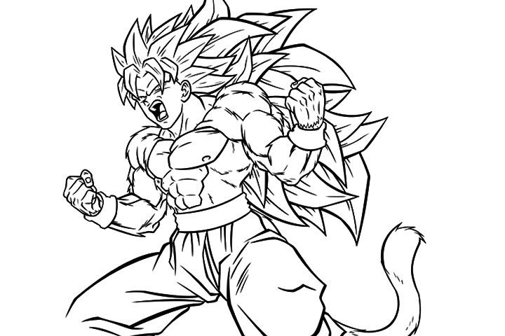 Desenhos Para Colorir Colorir Goku: Desenho De Goku Gritando Para Colorir