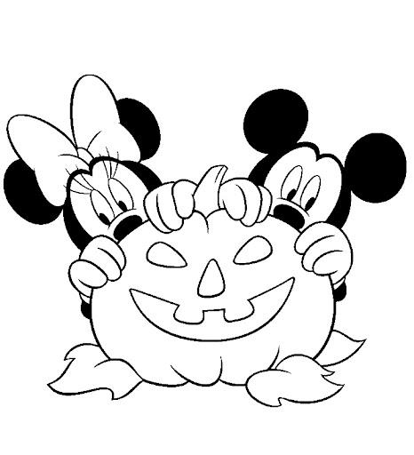 Desenho De Minnie Mouse E Abobora Do Halloween Para Colorir