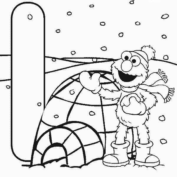 Desenho De Elmo E Iglu Para Colorir