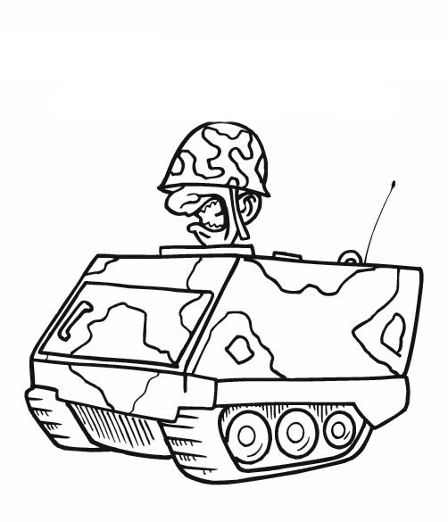 Desenho De Militar No Tanque De Guerra Para Colorir