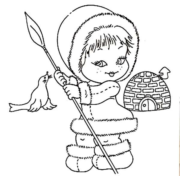 Desenho De Menina Esquim Com Lana Para Colorir