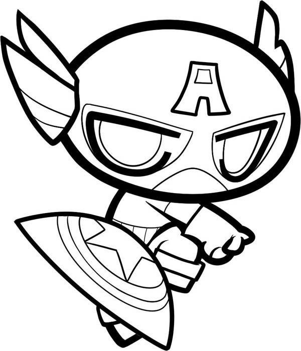 Desenho De Capitão América Chibi Para Colorir