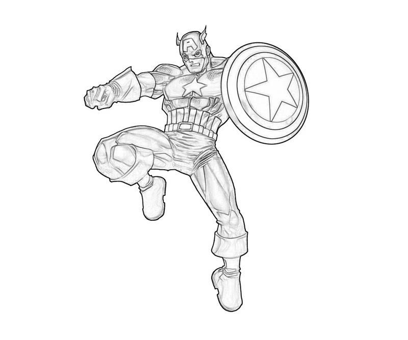 Desenho De Capitão América Herói Para Colorir