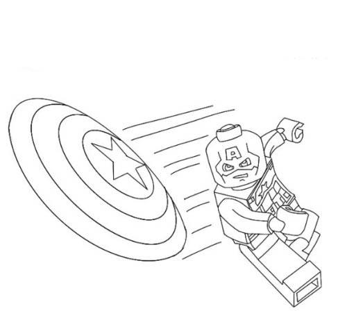 Desenho De Capitao America Lego Jogando Escudo Para Colorir