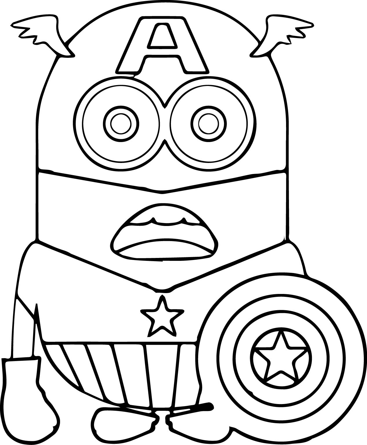 Desenho De Minion Capito Amrica Para Colorir