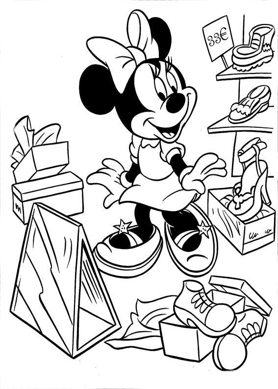 Desenho De Minnie Na Sapataria Para Colorir Tudodesenhos