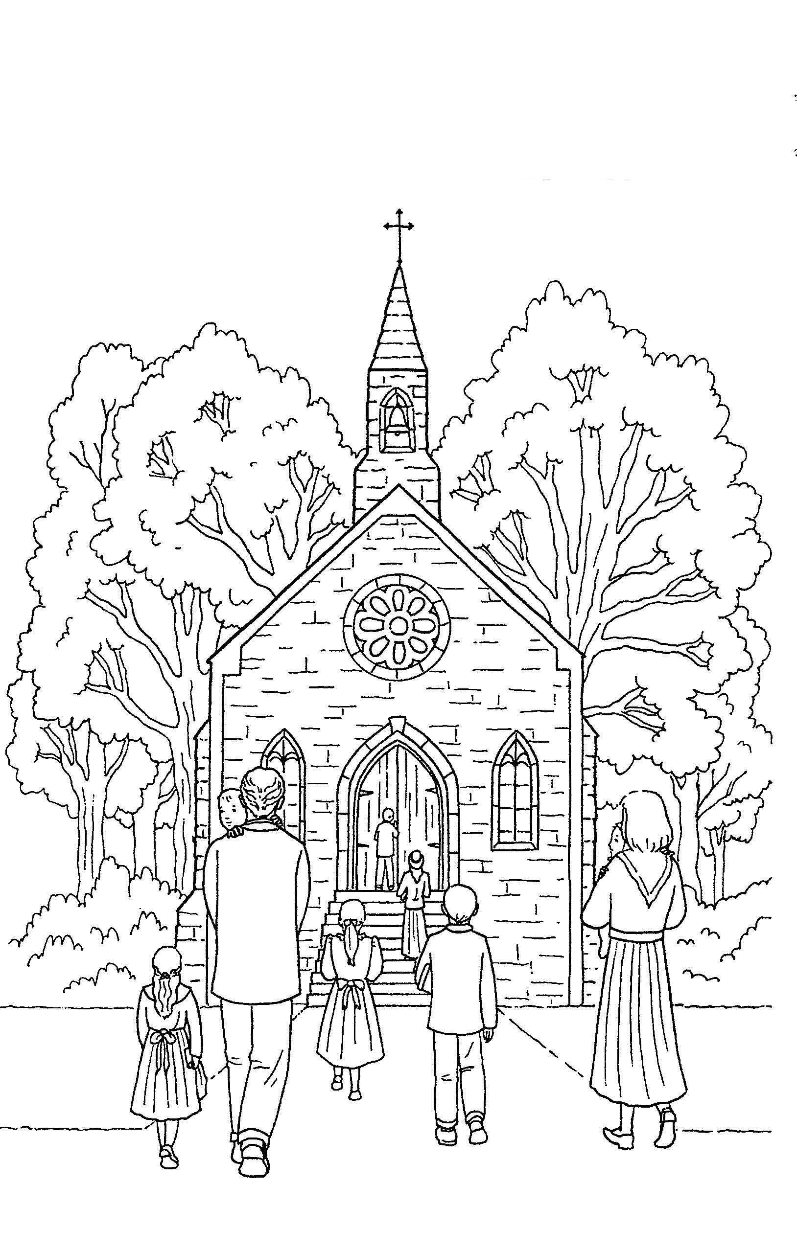 Desenho De Pessoas Indo A Igreja Para Colorir Tudodesenhos