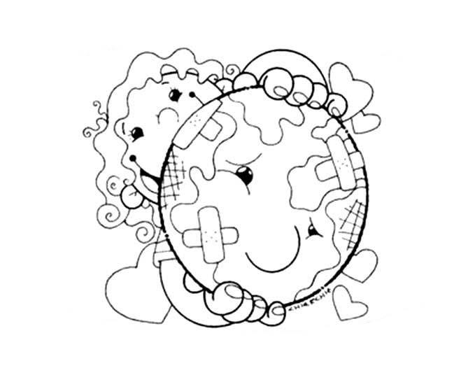 Desenho De Menina Salvando Planeta Terra Para Colorir Tudodesenhos