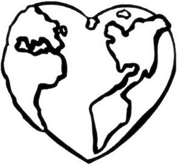 Desenho De Planeta Terra Coração Para Colorir