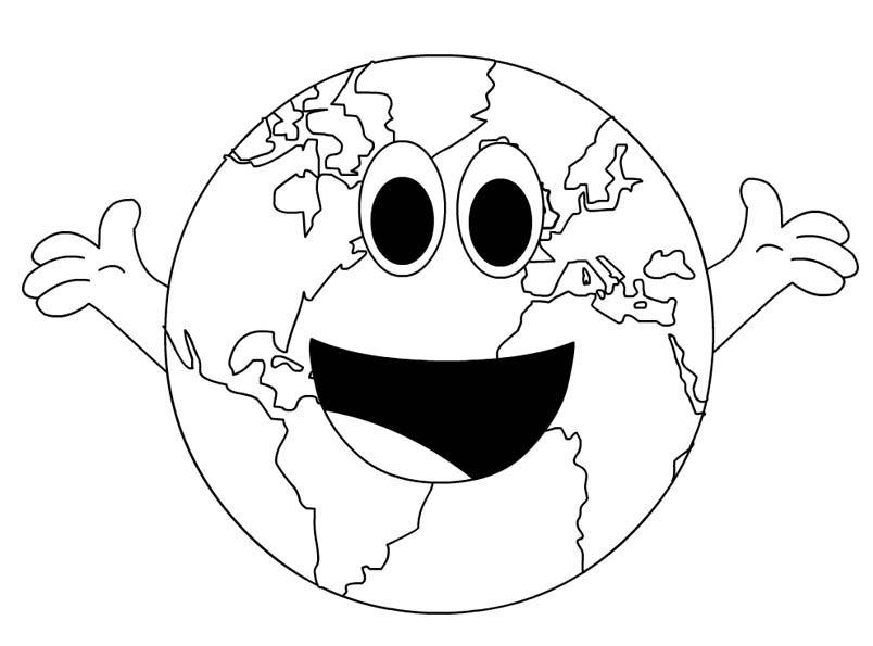 Desenho De Planeta Terra Sorridente Para Colorir Tudodesenhos