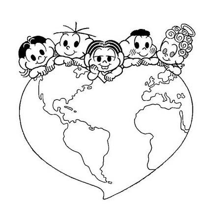 Desenho De Turma Da Monica No Dia Do Planeta Terra Para Colorir
