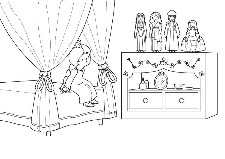 Desenho No Quarto ~ Desenho de Quarto de menina com bonecas para colorir Tudodesenhos