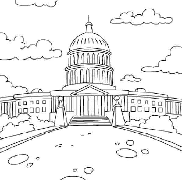 Desenho de Casa Branca de Washington para colorir ...
