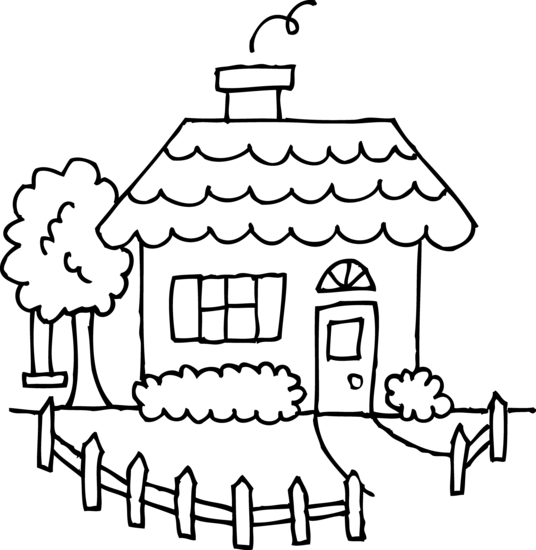 desenho de casa com jardim cercado para colorir tudodesenhos