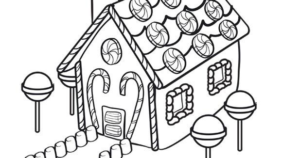Desenho De Casa Feita De Doces E Pirulitos Para Colorir Tudodesenhos