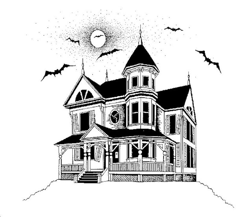 desenho de casa mal assombrada com morcegos para colorir