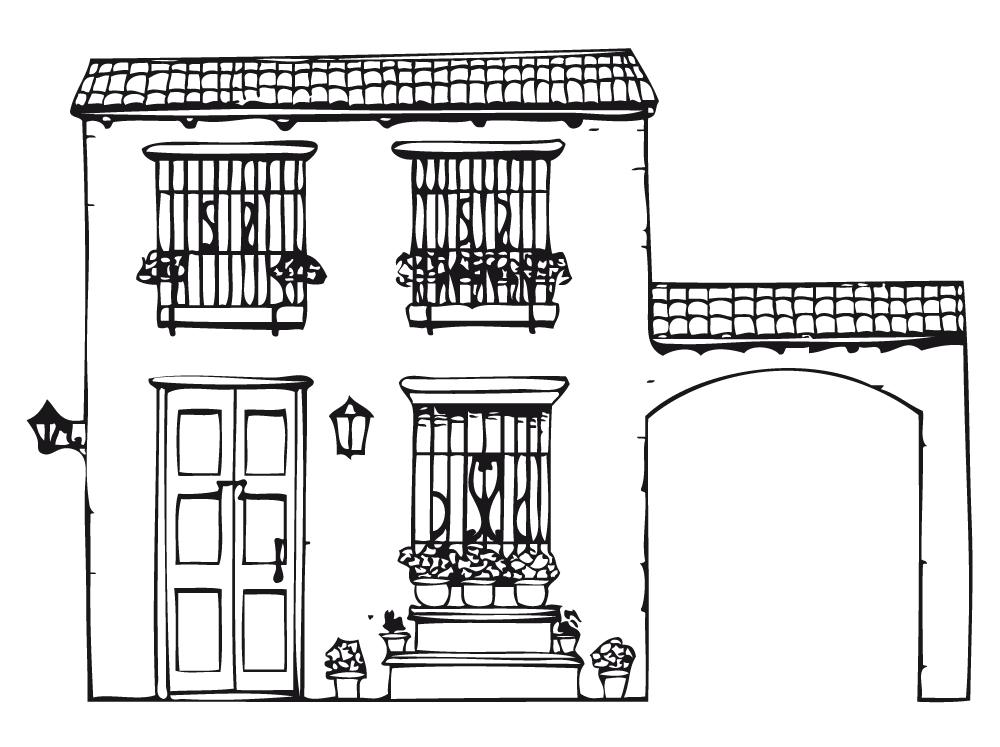Desenho de casa sobrado para colorir tudodesenhos - Como pintar una casa rustica ...