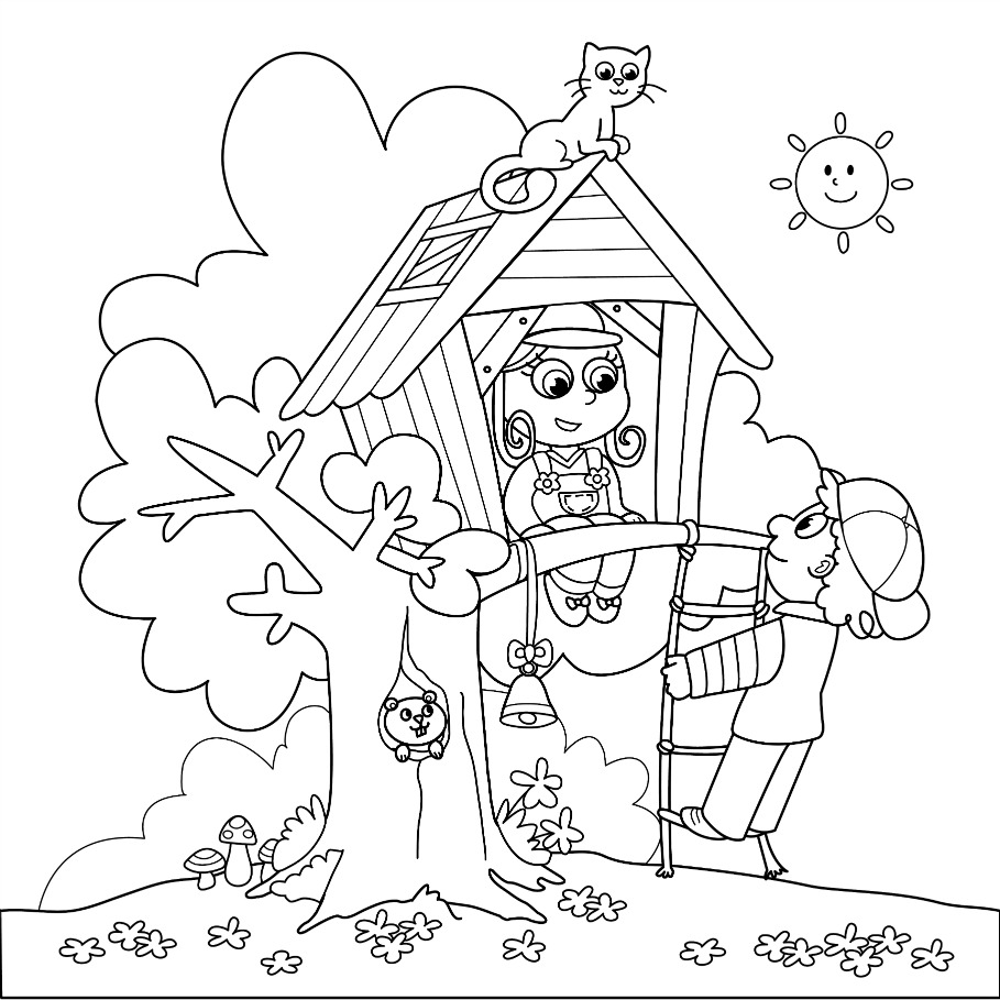 christmas coloring pages children nestled - photo#4