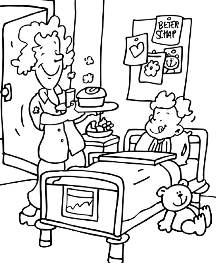 Desenho De Enfermeira Cuidando Do Paciente Para Colorir