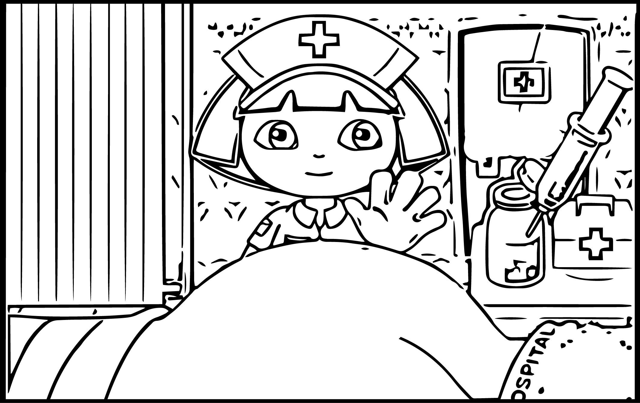 Desenho De Dora Aventureira Médica Para Colorir