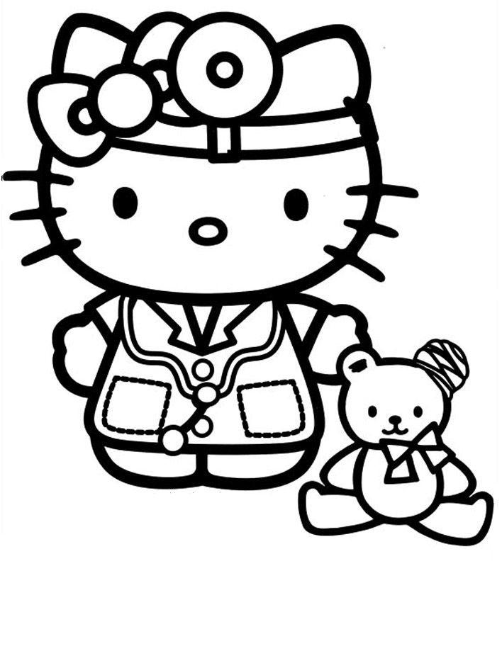 Desenho De Hello Kitty Medica Para Colorir
