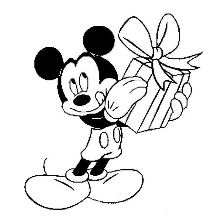 Desenho De Micke Com Caixa De Presente Para Colorir
