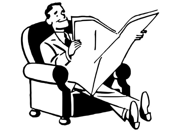 Desenho De Homem No Sofá Lendo Jornal Para Colorir