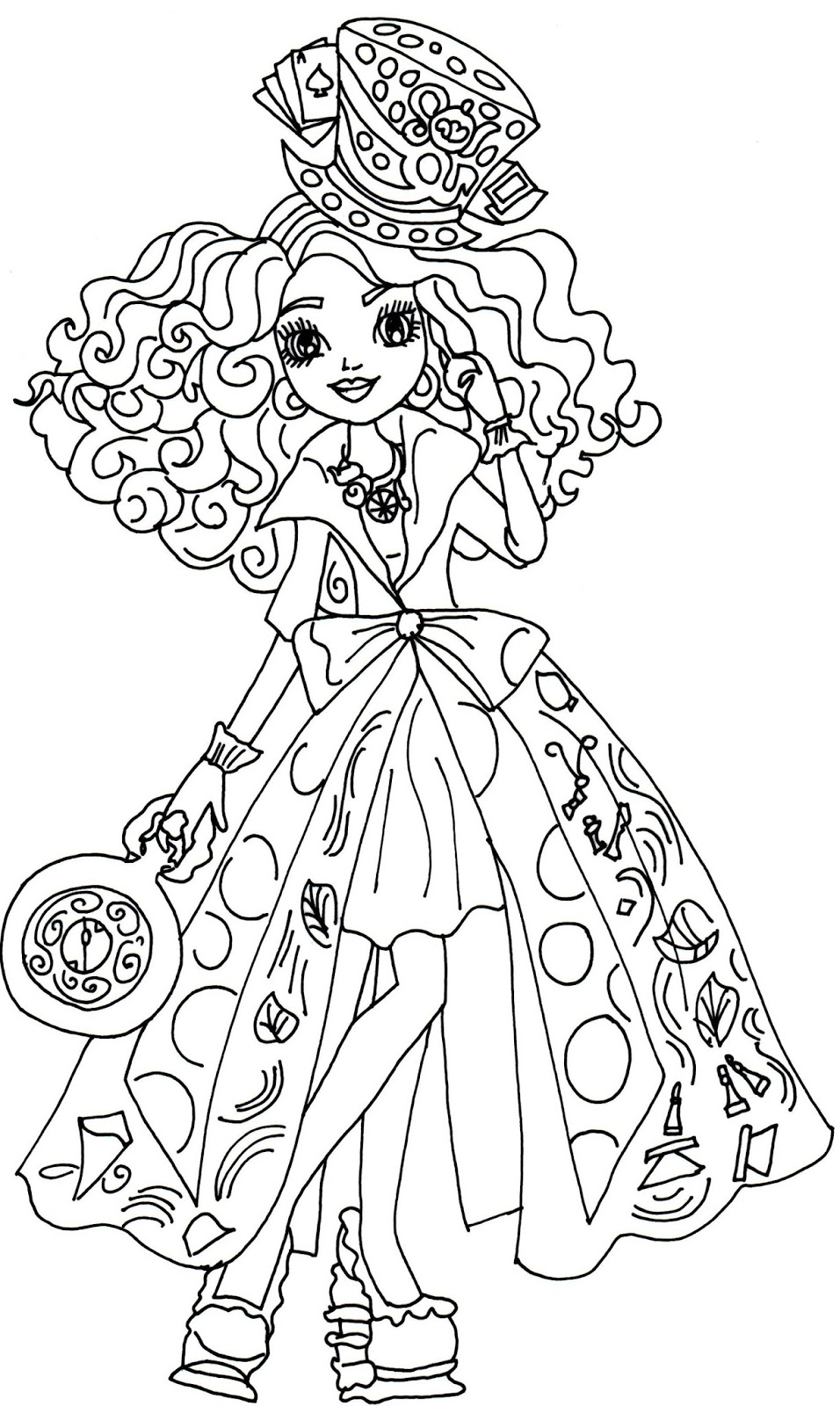 desenho de madeline hatter de ever after high para colorir