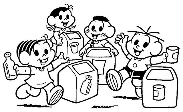 desenho de turma da monica reciclagem de lixo para colorir