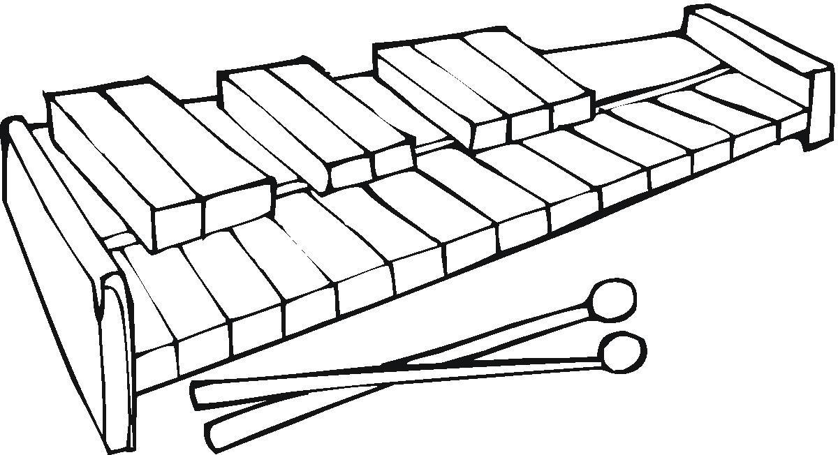 Desenho de Teclas do xilofone para