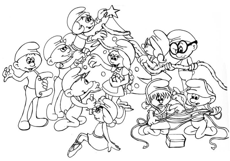 Desenho De Natal Dos Smurfs Para Colorir