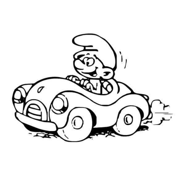 Desenho De Smurf Passeando De Carro Para Colorir