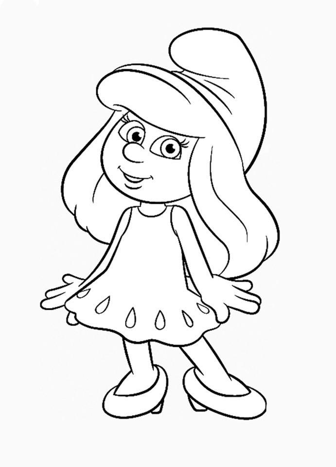 Desenho de Smurfete mostrando seu