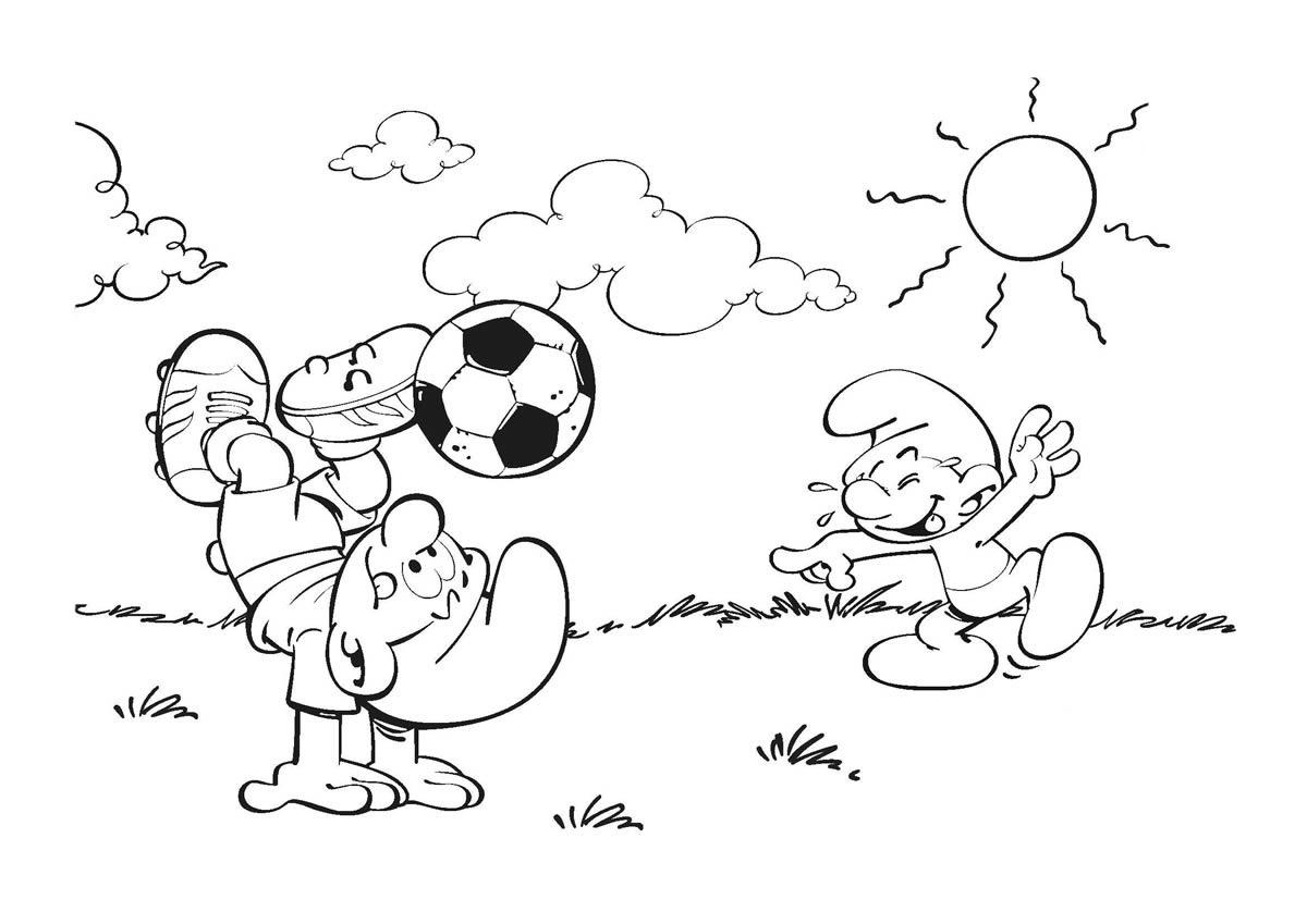 Desenho De Smurfs Jogando Futebol Para Colorir