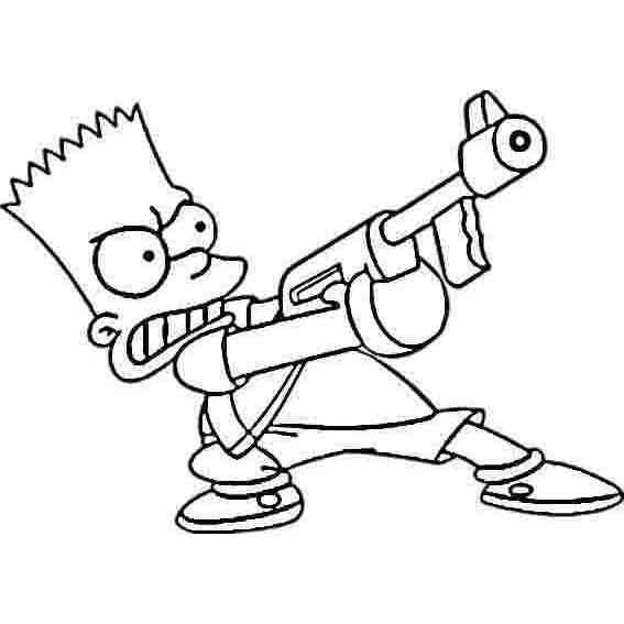 desenho de bart simpson brincando de polícia ladrão para colorir