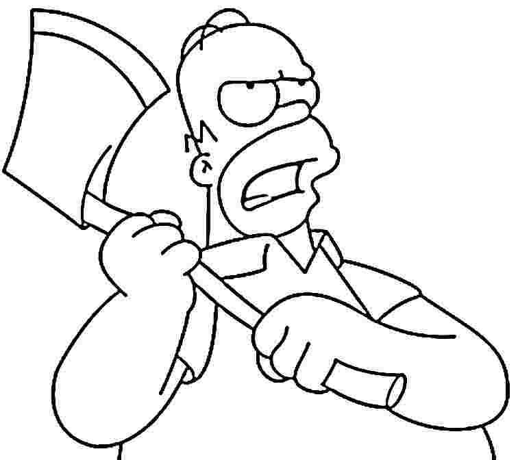 desenho de homer simpson e machado para colorir tudodesenhos