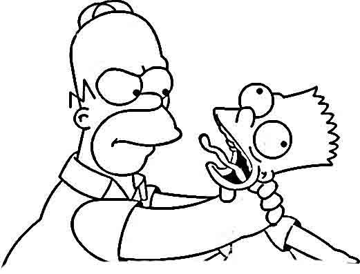 desenho de homer simpson esganando bart para colorir tudodesenhos