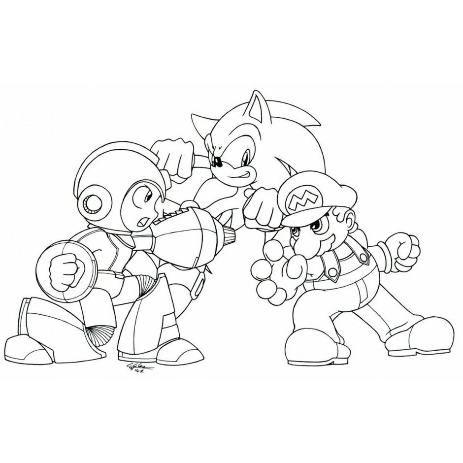 Desenho De Sonic E Super Mario Para Colorir