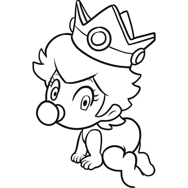 Desenho de Princesa Peach bebê engatinhando para colorir